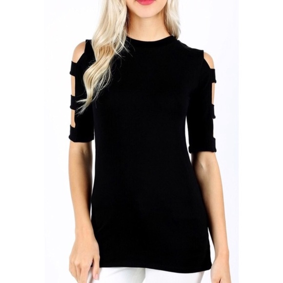 f947cc388b88 Zena Outfitters Tops - NWOT Reposh Black Ladder Sleeve Tee